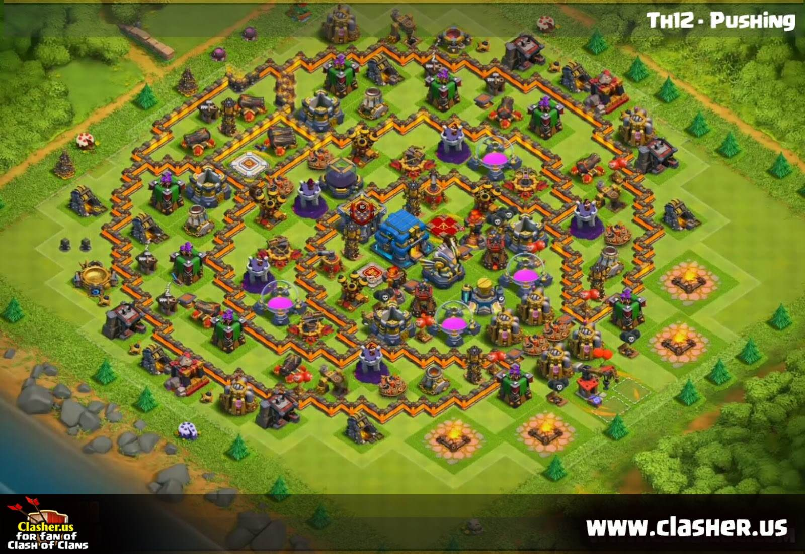 HYBRID - Town Hall 12 - Base Maps - Clash of Clans | Clasher.us on