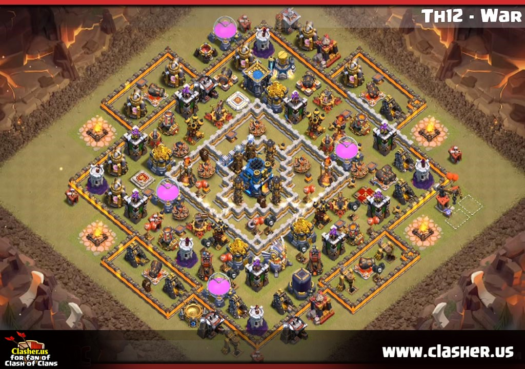 Town Hall 12 - WAR Base Map #30 - Clash of Clans | Clasher us