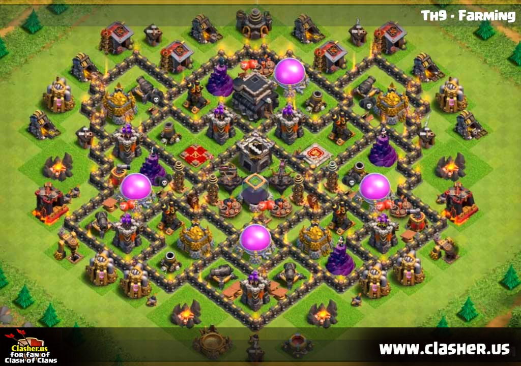 FARMING - Town Hall 9 - Base Maps - Clash of Clans | Clasher.us on